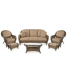 Sandy Cove Outdoor Wicker 6-Pc. Seating Set (1 Sofa, 2 Club Chairs, 2 Ottomans and 1 Coffee Table) Custom Sunbrella®, Created for Macy's