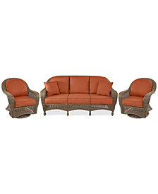 Sandy Cove Outdoor Wicker 3-Pc. Seating Set (1 Sofa and 2 Swivel Gliders) Custom Sunbrella®, Created for Macy's