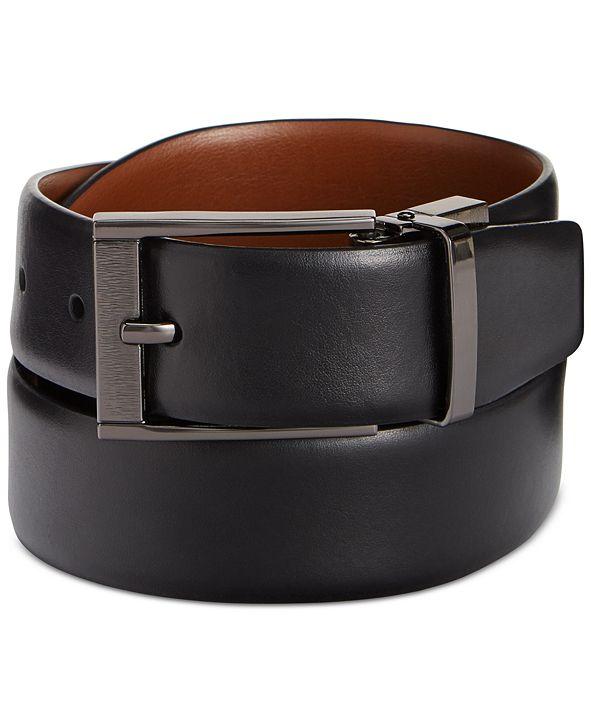 Perry Ellis Portfolio Men's Leather Men's Leather Reversible Feather Edge Soft Touch Cowhide Belt