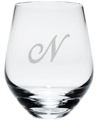 Tuscany Monogram Stemless White Wine Glasses, Set of 4, Script Letters