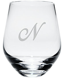 Lenox Tuscany Monogram Stemless White Wine Glasses, Set of 4, Script Letters