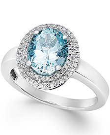 Aquamarine (1-1/2 ct. t.w.) and Diamond (1/5 ct. t.w.) Ring in 14k White Gold