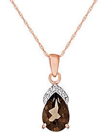 Smokey Quartz (1-7/8 ct. t.w.) Diamond Accent Pendant in 14k Rose Gold