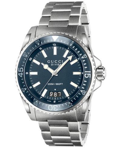 Gucci Men's Swiss Dive Stainless Steel Bracelet Watch 45mm YA136203