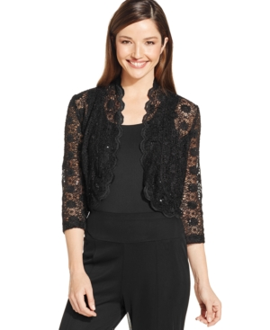 Steampunk Vests and Wraps R  M Richards Scalloped Sequin Lace Bolero $39.00 AT vintagedancer.com