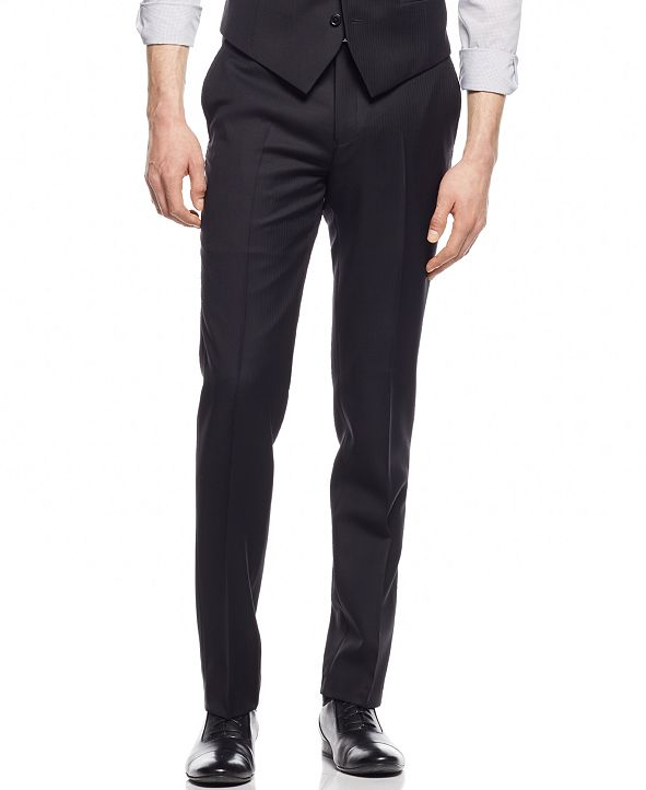 Bar III Black Solid Extra Slim-Fit Pants