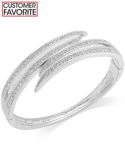 Charter Club Silver-Tone Crystal Pavè Bypass Bracelet