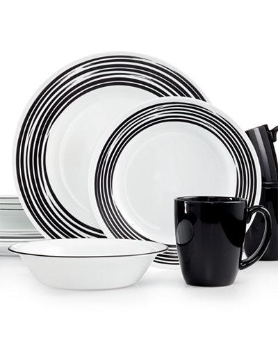 Corelle Brushed Black 16-Pc. Dinnerware Set, Service for 4