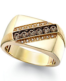 Men's Champagne and White Diamond Ring in 10k Gold (1/4 ct. t.w.)