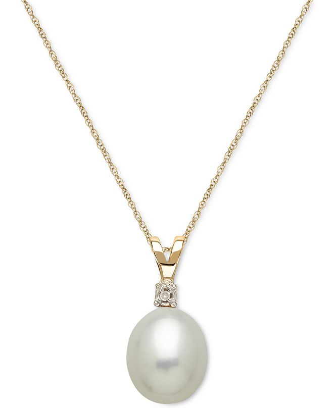 Honora Cultured Freshwater Pearl (8mm) and Diamond Accent Pendant Necklace in 14k Gold