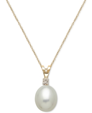 Cultured Freshwater Pearl (8mm) and Diamond Accent Pendant Necklace in 14k Gold