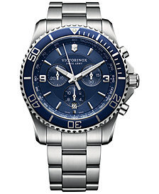 Victorinox Swiss Army Men's Chronograph Maverick Stainless Steel Bracelet Watch 43mm 241689