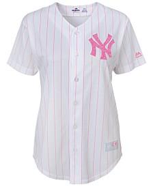 Majestic Girls' New York Yankees Pink Glitter Jersey