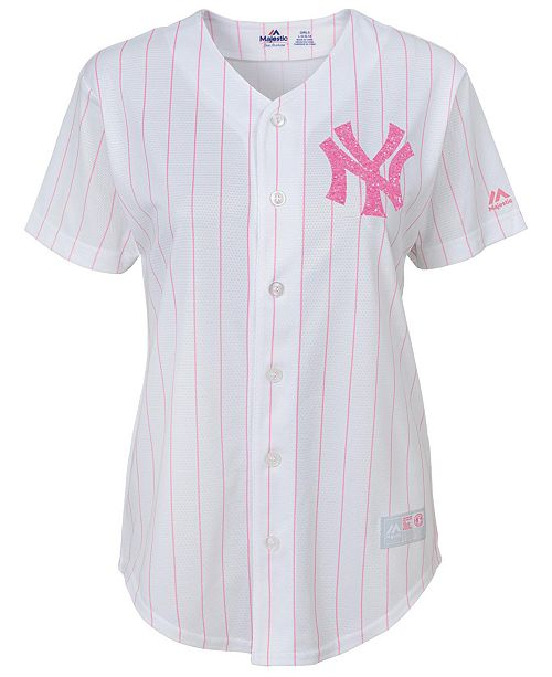 Majestic Girls  New York Yankees Pink Glitter Jersey - Sports Fan ... 5f2383cdc93