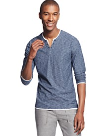 I.N.C. Men's Long-Sleeve Split-Neck T-Shirt, Created for Macy's
