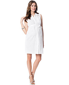 A Pea In The Pod Maternity Perforated Shirt-Dress
