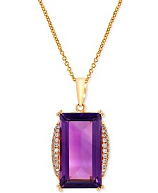 EFFY Amethyst (9-2/3 ct. t.w.) and Diamond (1/5 ct. t.w.) Pendant Necklace in 14k Rose Gold