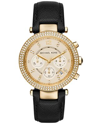 michael kors s chronograph black leather