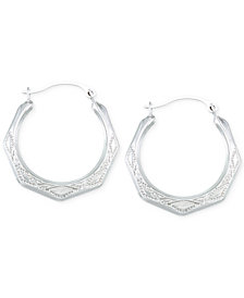Etched Hoop Earrings in 10k White Gold