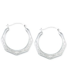 Etched Hoop Earrings in 10k White Gold