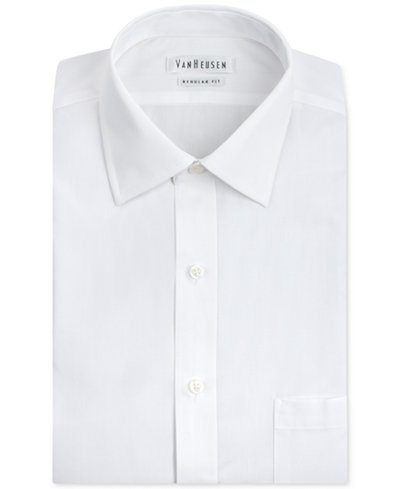 Van Heusen Men's Classic-Fit White Poplin Dress Shirt - Dress ...