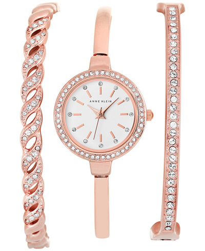 Anne klein women 39 s rose gold tone bangle bracelet watch set 24mm ak 2046rgst watches jewelry for Anne klein rose gold watch set