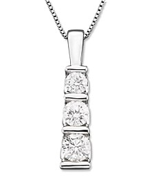 Three-Stone Diamond Pendant Necklace in 14k White Gold or 14k Yellow Gold (1/2 ct. t.w.)