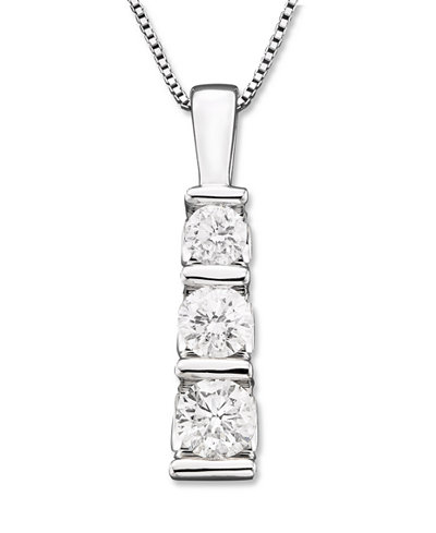 Three stone diamond pendant necklace in 14k white gold 12 ct tw three stone diamond pendant necklace in 14k white gold 12 ct aloadofball