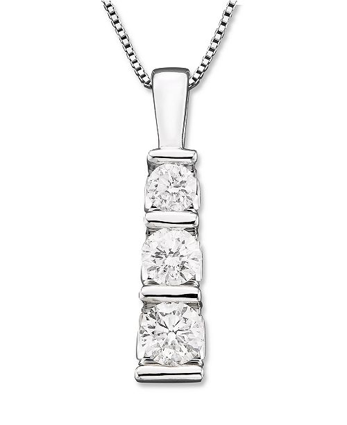 Macy's Three-Stone Diamond Pendant Necklace in 14k White Gold (1/2 ct. t.w.)