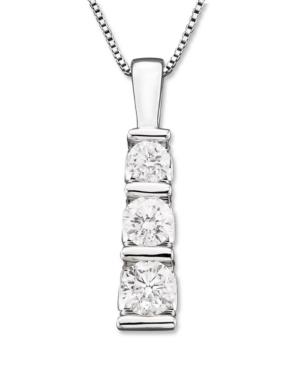 Three-Stone Diamond Pendant Necklace in 14k White Gold (1/2 ct. t.w.)