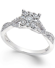 Princess-Cut Diamond Promise Ring (1/4-ct. t.w.) in Sterling Silver