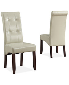 Verona Faux Leather Set of 2 Tufted Parson Chairs, , Quick Ship