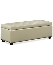 Hayes Faux Leather Storage Ottoman, Quick Ship