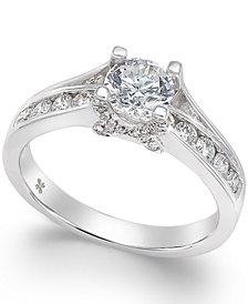 X3 Certified Diamond Engagement Ring in 18k White Gold (1 ct. t.w.), Created for Macy's