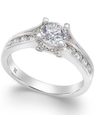 x3 certified diamond engagement ring in 18k white gold 1 ct tw