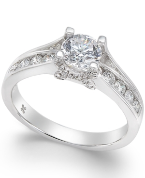X3 Certified Diamond Engagement Ring in 18k White Gold (1 ct. t.w.)