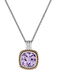 Amethyst Pendant Necklace (6 ct. t.w.) in 18k Rose Gold and Sterling Silver