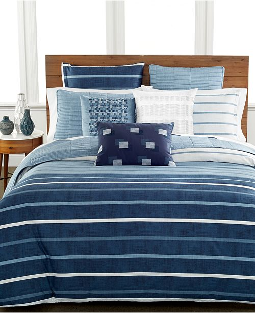 Hotel Collection Colonnade Blue Duvet Covers, Created for Macy's