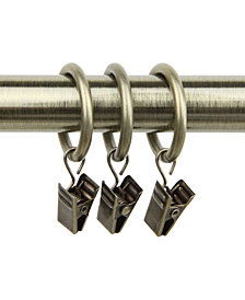 """Rod Desyne Set of 10 Curtain 1"""" Rings with Clips"""