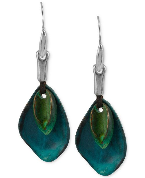Robert Lee Morris Soho Silver-Tone Layered Sculptural Patina Drop Earrings
