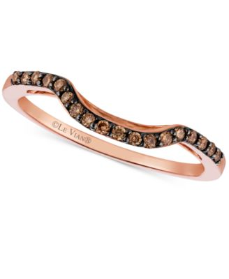 Le Vian Chocolatier Chocolate Diamond 1 6 Ct T W Curved Ring In 14k Rose Gold Jewelry Watches Rings Macy S