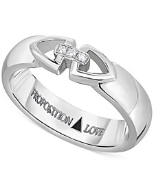 Diamond Triangle Motif Unisex Wedding Band in 14k White Gold (1/10 ct. t.w.)