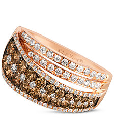 Le Vian Chocolatier® Chocolate and White Diamond Ring (1-1/2 ct. t.w.) in 14k Rose Gold