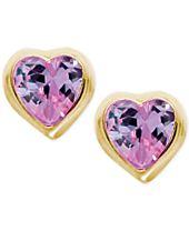 Children's Purple Cubic Zirconia Heart Earrings in 14k Gold