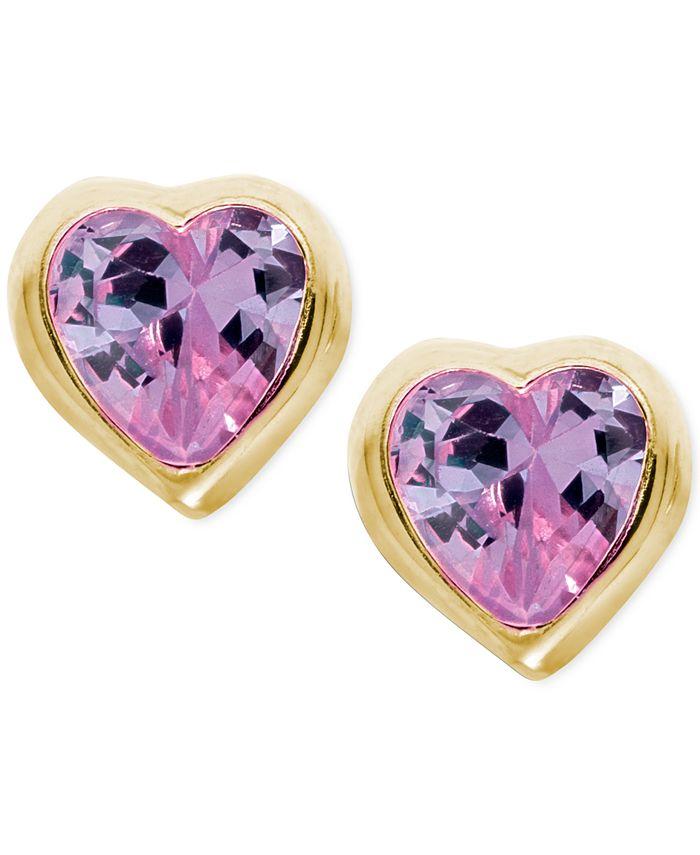 Macy's - Children's Purple Cubic Zirconia Heart Earrings in 14k Gold