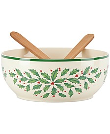 Holiday Salad Bowl with Wooden Servers