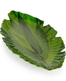 Q Squared Zen Melamine Small Green Leaf Platter