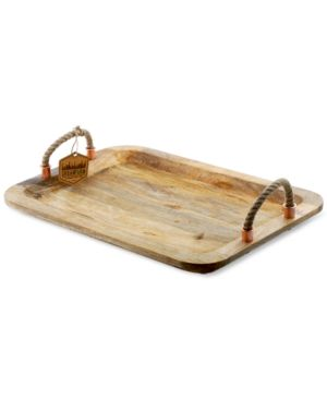 Thirstystone Wood Serving Tray With Rope Handles