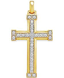Men's Diamond Cross Pendant (3/8 ct. t.w.) in 10k Gold