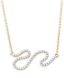 wrapped™ Diamond Squiggle Pendant Necklace (1/6 ct. t.w.) in 10k Gold, Created for Macy's